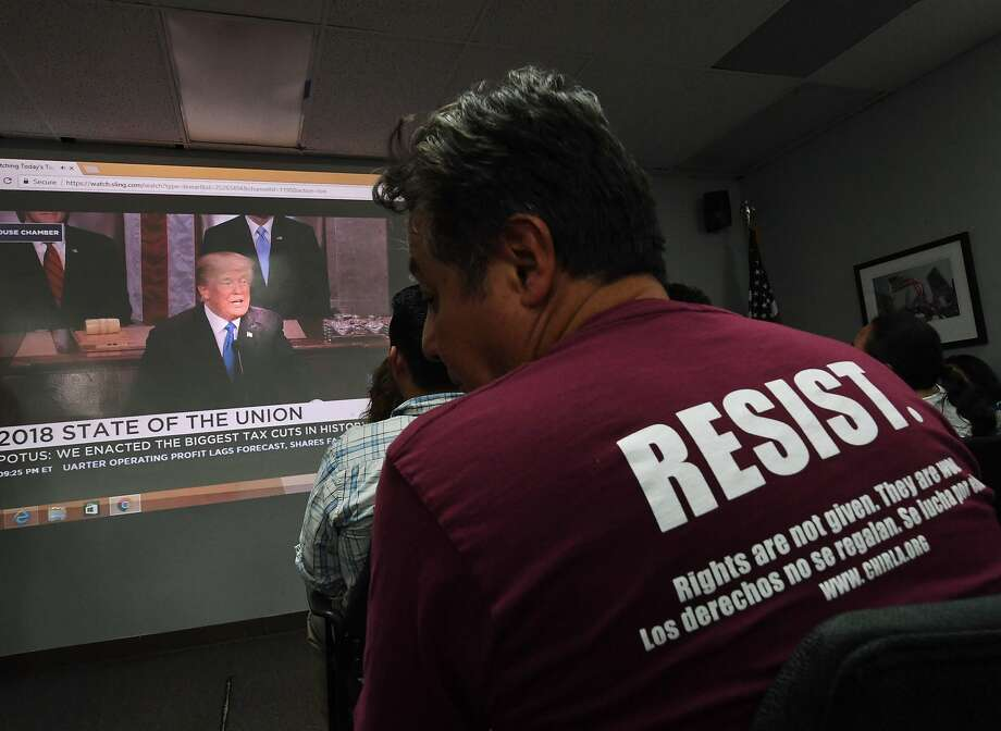 """""""Dreamers"""" and their supporters watch President Trump's State of the Union address during a Los Angeles viewing party. Photo: MARK RALSTON, AFP/Getty Images"""
