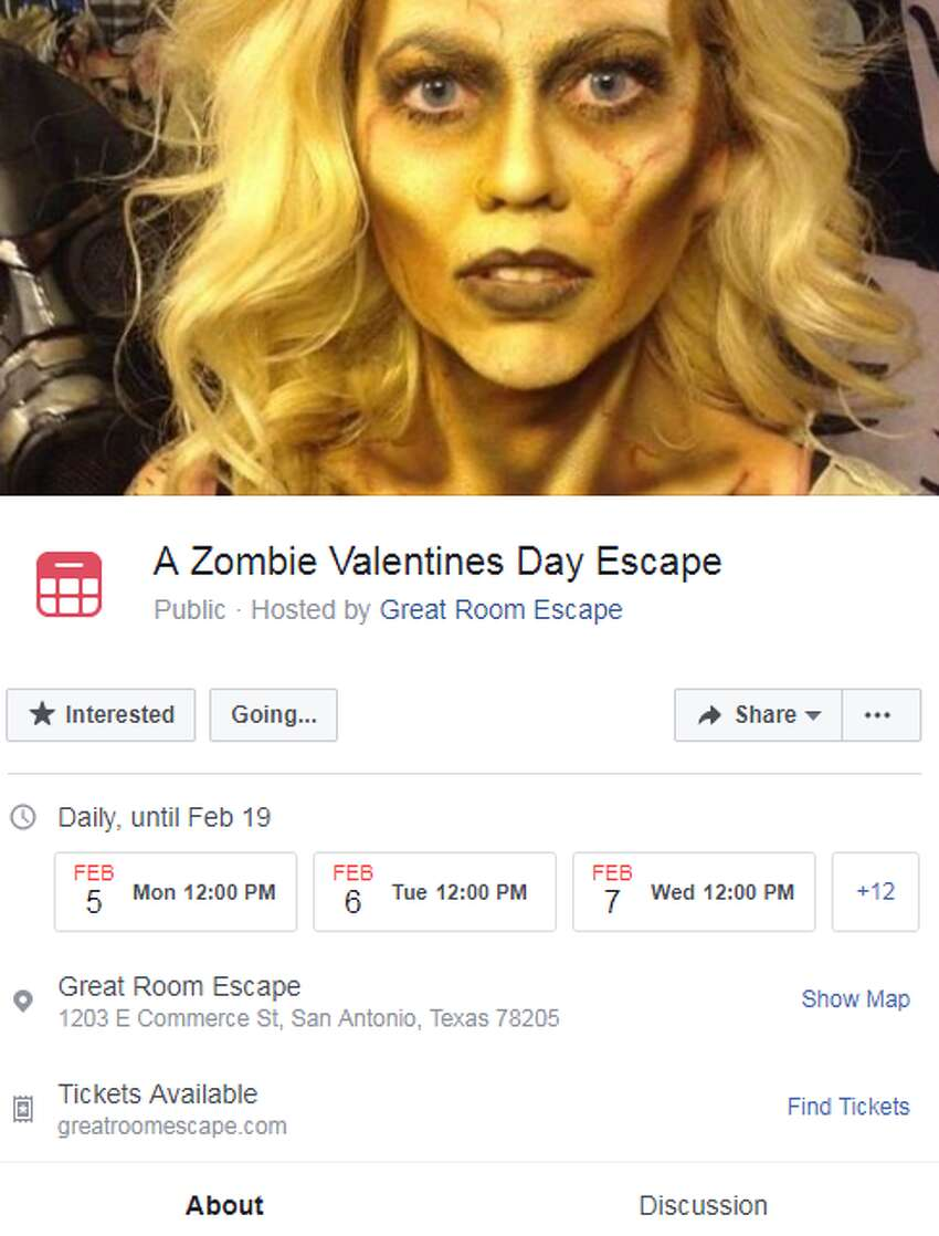 A Zombie Valentine's Day Escape Great Room Escape is combing Halloween with Valentine's Day this year. Couples will be locked in a room with a zombie an will have to work together to escape before it is set free, according to the Facebook event page.