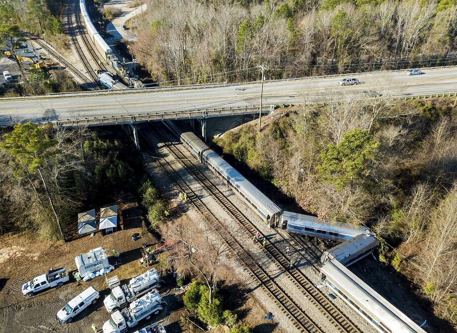 An aerial photo shows the scene in Cayce, S.C., where an Amtrak train (right) collided Sunday with a CSX freight train (top left). Two people were killed. Photo: Jeff Blake, Associated Press