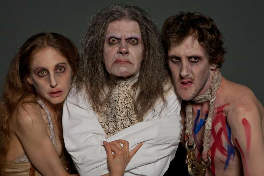 "A publicity image from ""Marat/Sade"" a Thrillpeddlers production at the Brava Theatre featuring, from left, Alison Sacha Ross, Rumi Missabu and Shawn Toczyl. Photo: Daniel Nicoletta"