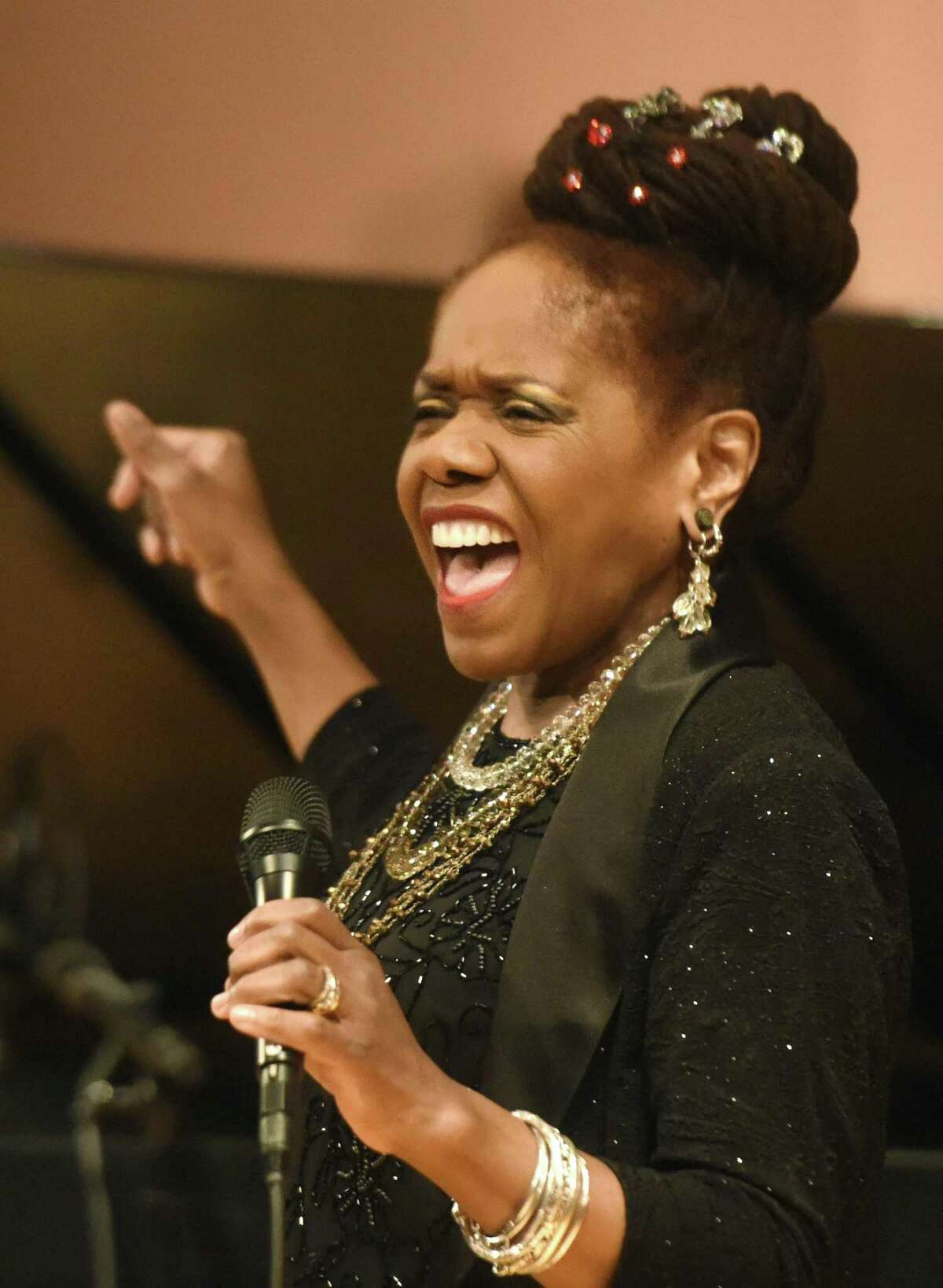 """Jazz singer Catherine Russell performs at Greenwich Library's Cole Auditorium in Greenwich, Conn. Sunday, Feb. 4, 2018. Russell, whose most recent album """"Harlem on My Mind"""" was nominated for Best Jazz Vocal at the 2017 Grammy's, entertained a packed house with a lively set."""
