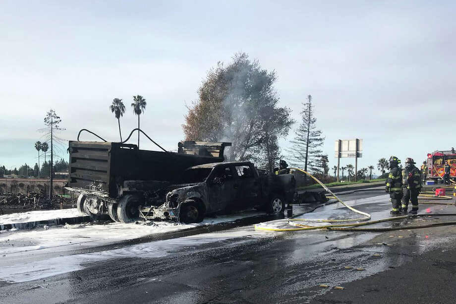 A major accident shut down a busy thoroughfare Monday morning in Santa Rosa, authorities said. The Santa Rosa Fire Department said that the crash involved 10 vehicles and six were on fire on Feb. 5, 2017. Photo: Santa Rosa Fire Department