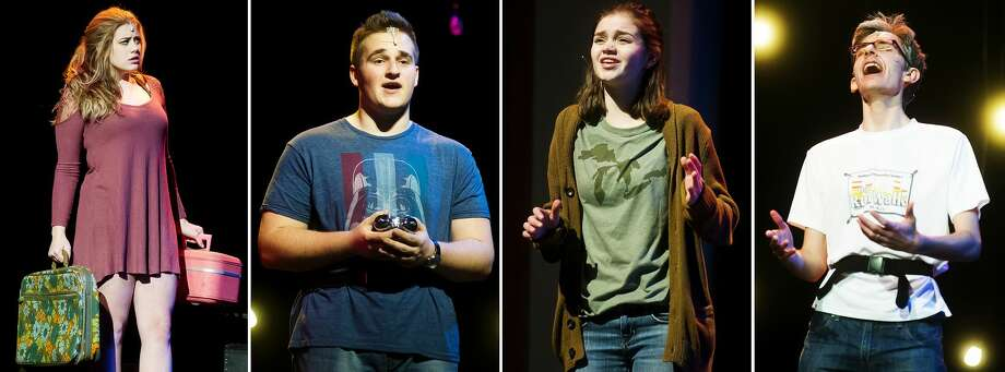 "From left, Kady Booth as Daphne, Fletcher Nowak as Harold McClam, Emma Brown as Miriam and Ethan Dotson as Mr. McClam act out scenes during a dress rehearsal for Midland High School's production of ""Scenes from Fly By Night,"" a one-act musical, on Thursday, Feb. 1, 2018 at Central Auditorium. The show will be performed at 7 p.m. on Thursday and Friday, Feb. 8 and 9. Tickets are $5 at the door. (Katy Kildee/kkildee@mdn.net) Photo: (Katy Kildee/kkildee@mdn.net)"