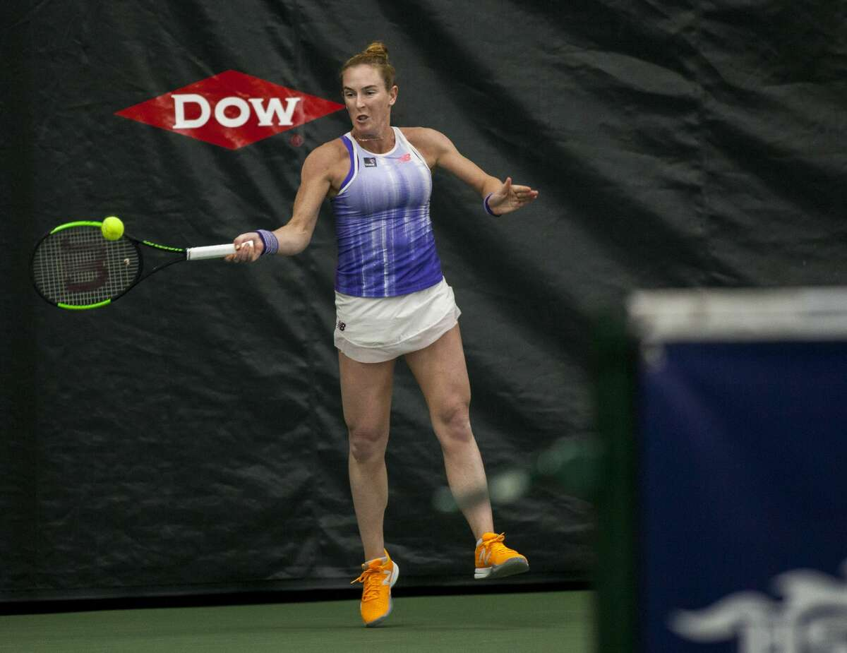 Madison Brengle plays in the singles final match during the Dow Tennis Classic held at the Greater Midland Tennis Center on Sunday, Feb. 4, 2018. (Josie Norris/for the Daily News)