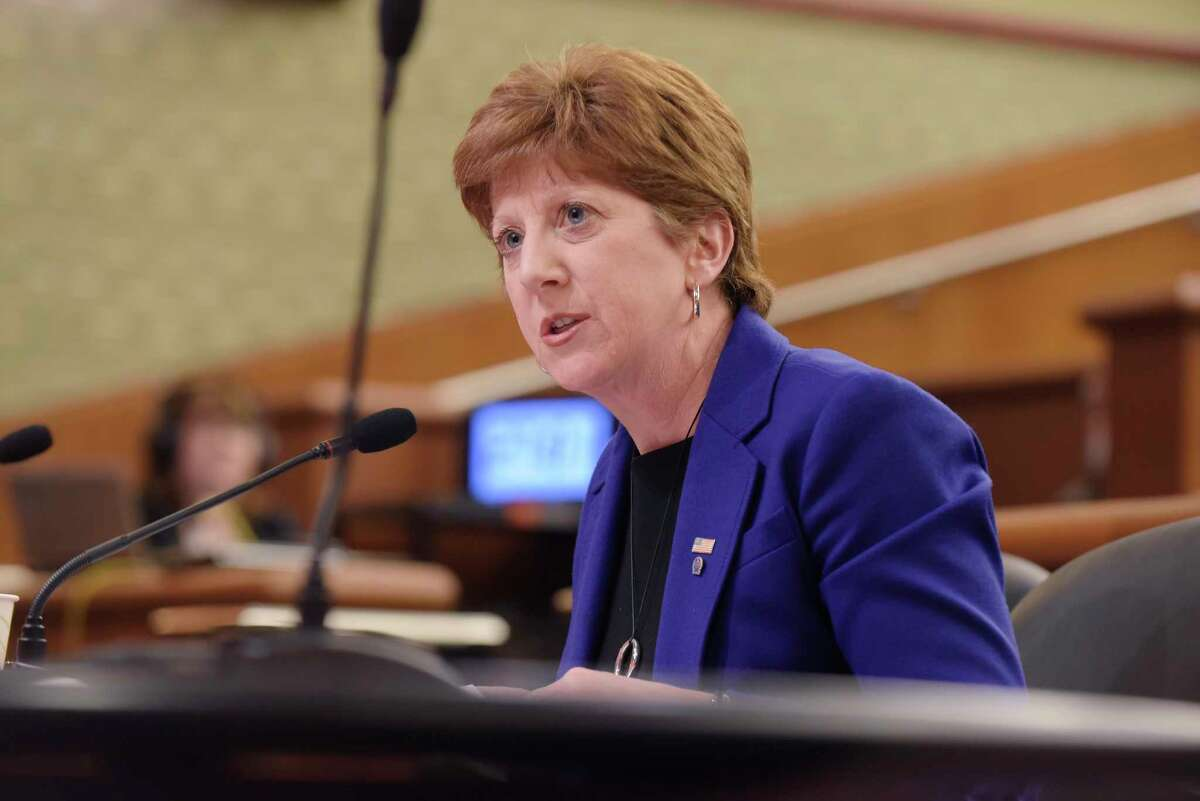 Albany Mayor Kathy Sheehan testifies at a New York State Legislature joint budget hearing dealing with funding for cities on Monday, Feb. 5, 2018, in Albany, N.Y. (Paul Buckowski/Times Union)