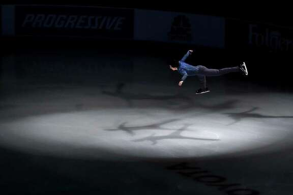 Vincent Zhou performs during an exhibition event at the U.S. Figure Skating Championships Sunday, Jan. 22, 2017, in Kansas City, Mo. (AP Photo/Charlie Riedel)