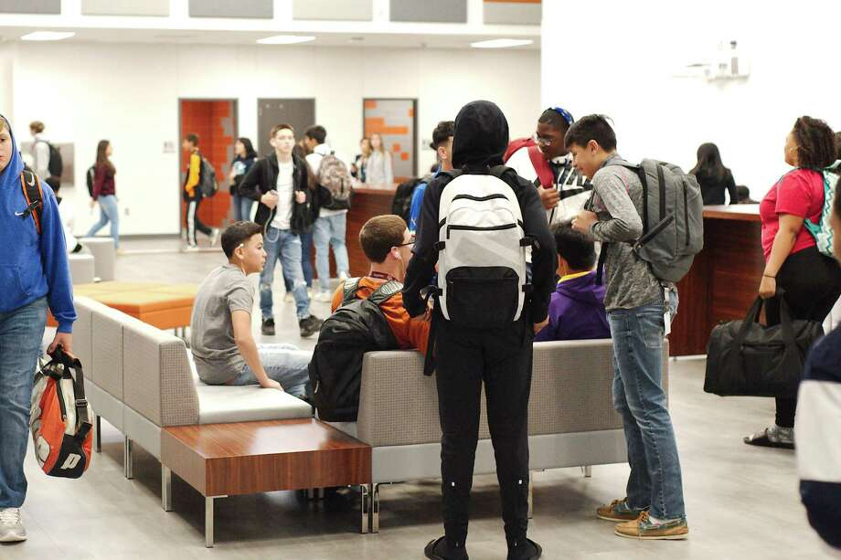 Students relax in the flex area between classes at the new Pasadena ISD Dobie 9 ninth grade campus, which opened Jan. 8. Photo: Kirk Sides / © 2018 Kirk Sides / Houston Chronicle