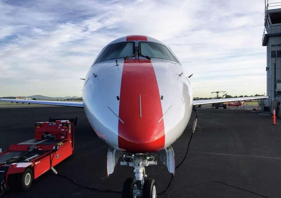 Full frontal view of a JetSuiteX Embraer 135 which now flies between Oakland and Reno-Lake Tahoe Photo: Chris McGinnis