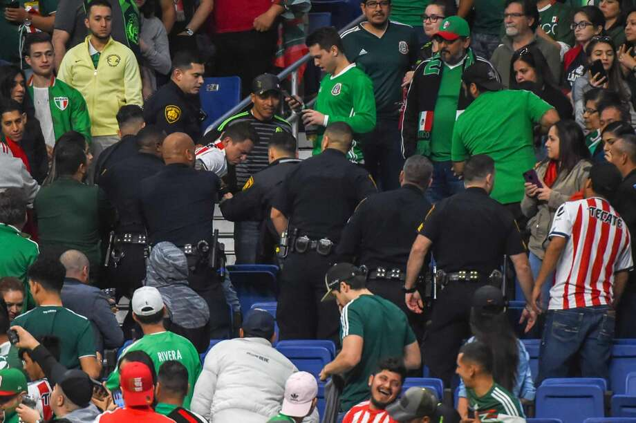 SAN ANTONIO, TX - JANUARY 31: San Antonio police are summoned to the stands in the closing seconds of the soccer match between Mexico and Bosnia & Herzegovina on January 31, 2018 at the Alamodome in San Antonio, Texas. (Photo by Ken Murray/Icon Sportswire via Getty Images) Photo: Icon Sportswire/Icon Sportswire Via Getty Images