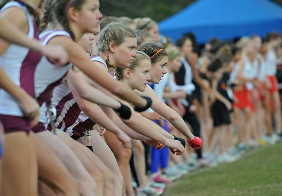 Runners get ready at the starting line in the Girls Class A race during the Section II Cross Country Sectionals at Spa State Park in Saratoga Springs.  (Lori Van Buren / Times Union) Photo: LORI VAN BUREN