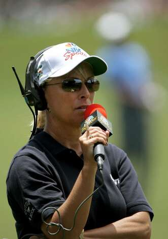 NBC Sports golf reporter Dottie Pepper reports the play during the first round of the 108th U.S. Open at the Torrey Pines Golf Course in June 2008.  (Doug Pensinger/Getty Images) Photo: Doug Pensinger / 2008 Getty Images