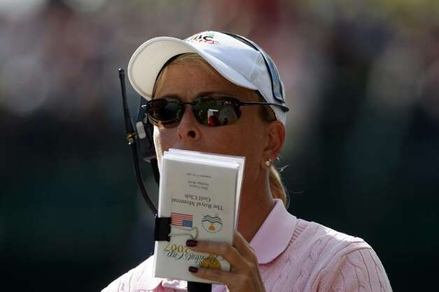 Dottie Pepper works as a commentator for NBC during the third round of the Presidents Cup at Royal Montreal Golf Club in September 2007. (David Cannon/Getty Images) Photo: David Cannon / 2007 Getty Images