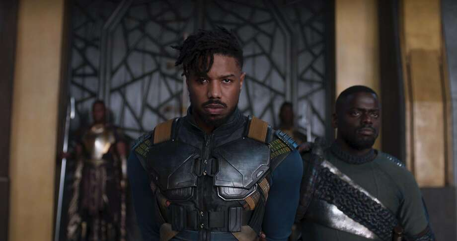 "Erik Killmonger (Michael B. Jordan, left) and W'Kabi (Daniel Kaluuya) in ""Black Panther."" Photo: �Marvel Studios 2018"