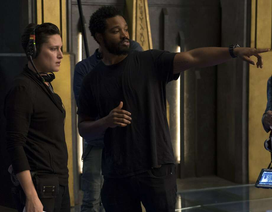 Director Ryan Coogler on set with cinematographer Rachel Morrison. Photo: Matt Kennedy