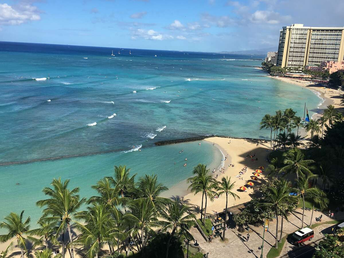 The protected swimming areas of Kuhio Beach are just across the road from Alohilani Resort Waikiki Beach, formerly the Pacific Beach Hotel.