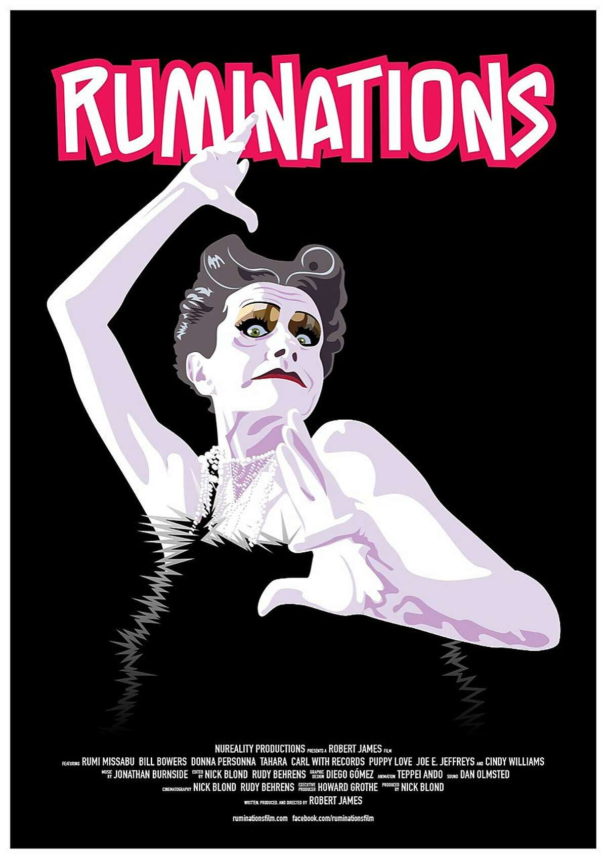 """Images from 'Ruminations"""" a film by Robert James about Cockette and performance artist Rumi Missabu."""