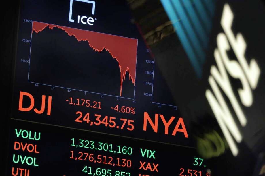 A board above the trading floor of the New York Stock Exchange shows the closing number for the Dow Jones industrial average, Monday, Feb. 5, 2018. The Dow Jones industrial average plunged more than 1,100 points Monday as stocks took their worst loss in six and a half years. (AP Photo/Richard Drew) Photo: Richard Drew, Associated Press / AP