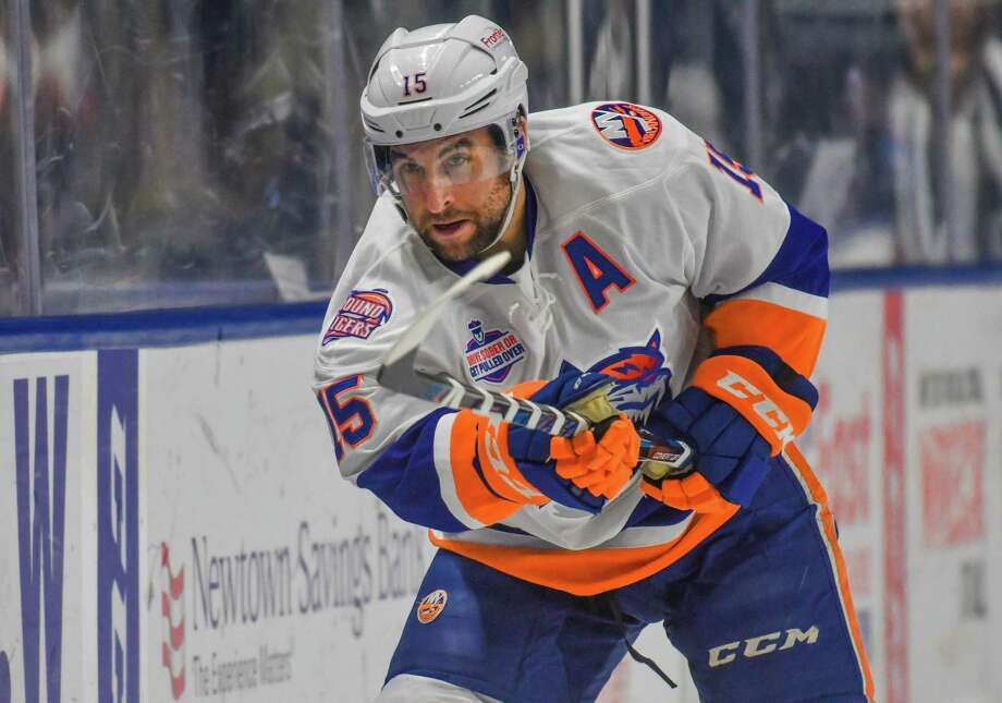 BRIDGEPORT, CT - DECEMBER 17: Stephen Gionta #15 of the Bridgeport Sound Tigers sends the puck into the corner during a game against the Lehigh Valley Phantoms at the Webster Bank Arena on December 17, 2017 in Bridgeport, Connecticut. (Photo by Gregory Vasil/Getty Images) Photo: Gregory Vasil / Getty Images / 2017 Gregory Vasil