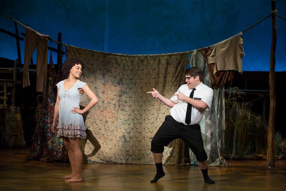 """Kim Exum (left) and Conner Peirson in SHN's """"The Book of Mormon."""" Photo: Julieta Cervantes, SHN"""
