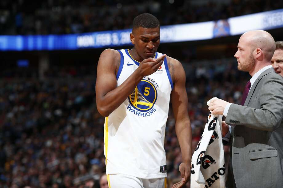 Golden State Warriors forward Kevon Looney (5) in the second half of an NBA basketball game Saturday, Feb. 3, 2018, in Denver. The Nuggets won 115-108. (AP Photo/David Zalubowski) Photo: David Zalubowski, Associated Press