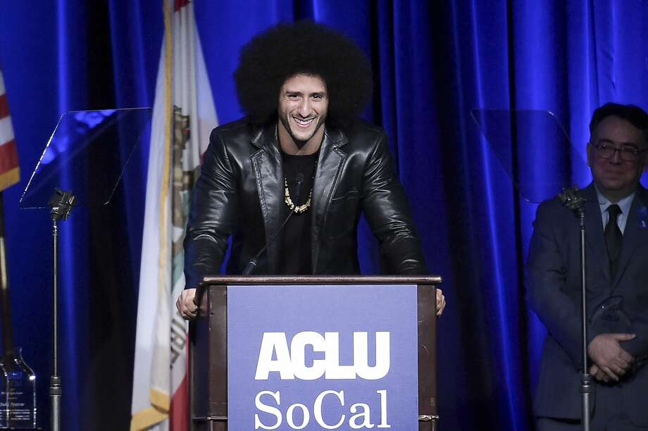 Colin Kaepernick speaks at the ACLU SoCal's Bill of Rights Dinner in Beverly Hills in 2017. Photo: Richard Shotwell, Associated Press