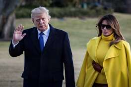 President Donald Trump and first lady Melania Trump arrive at the White House after a trip to Ohio, in Washington, Feb. 5, 2018. (Pete Marovich/The New York Times)