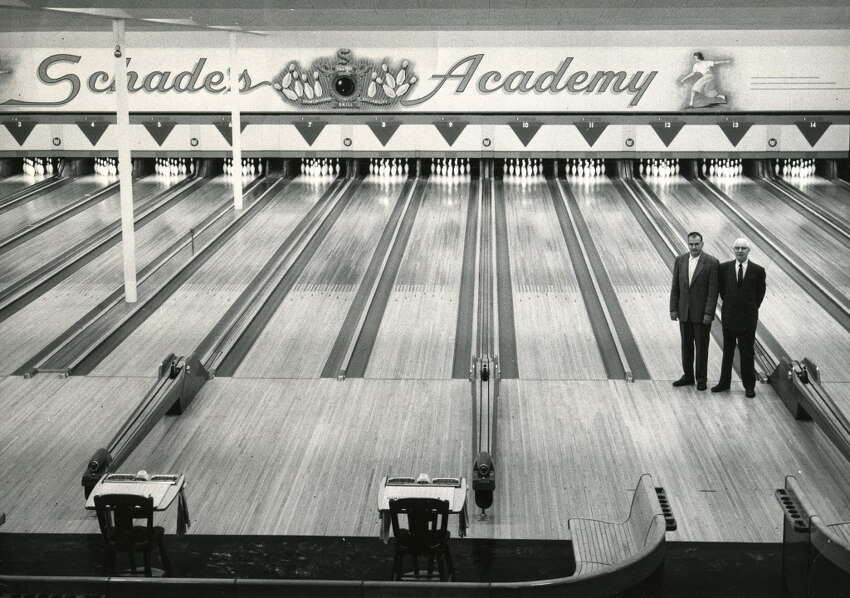 Click through a slideshow of bowling in the Capital Region through the years. Schade's Academy, site of the first Professional Bowlers Association tournament in 1959. -- Bill Schades, left, Bert Schade, right. (Times Union archive)