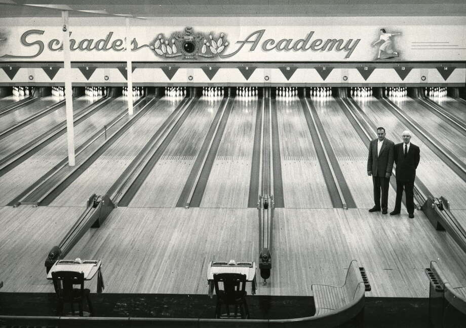 Click through a slideshow of bowling in the Capital Region through the years. Schade's Academy, site of the first Professional Bowlers Association tournament in 1959. -- Bill Schades, left, Bert Schade, right. (Times Union archive) Photo: Times Union Archive