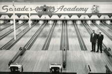 Times Union bowling Schade's Academy, site of the first Professional Bowlers Association tournament in 1959. -- Bill Schades, left, Bert Schade, right. (Times Union archive)