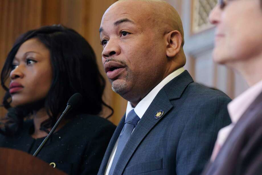 New York State Assembly Speaker Carl Heastie, surrounded by his fellow Assembly members, announces that the Assembly will take up and pass the Dream Act, during a press conference on Monday, Feb. 5, 2018, in Albany, N.Y.   (Paul Buckowski/Times Union) Photo: PAUL BUCKOWSKI / (Paul Buckowski/Times Union)