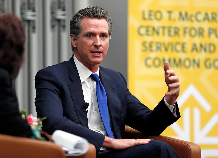 California Lt. Gov. Gavin Newsom, who is expected to receive the endorsement of Sen. Kamala Harris, was interviewed by Politico's Carla Marinucci at the University of San Francisco on February 5. Photo: Scott Strazzante, The Chronicle