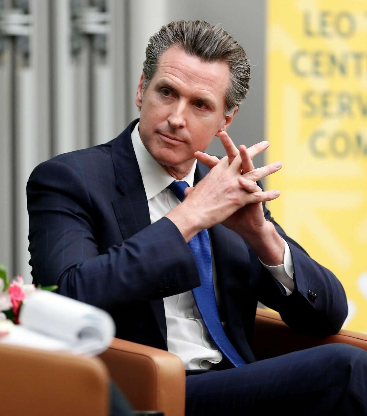 California Lt. Governor and Gubernatorial candidate Gavin Newsom is interviewed by Politico's Carla Marinucci at University of San Francisco in San Francisco on Monday, February 5, 2018.