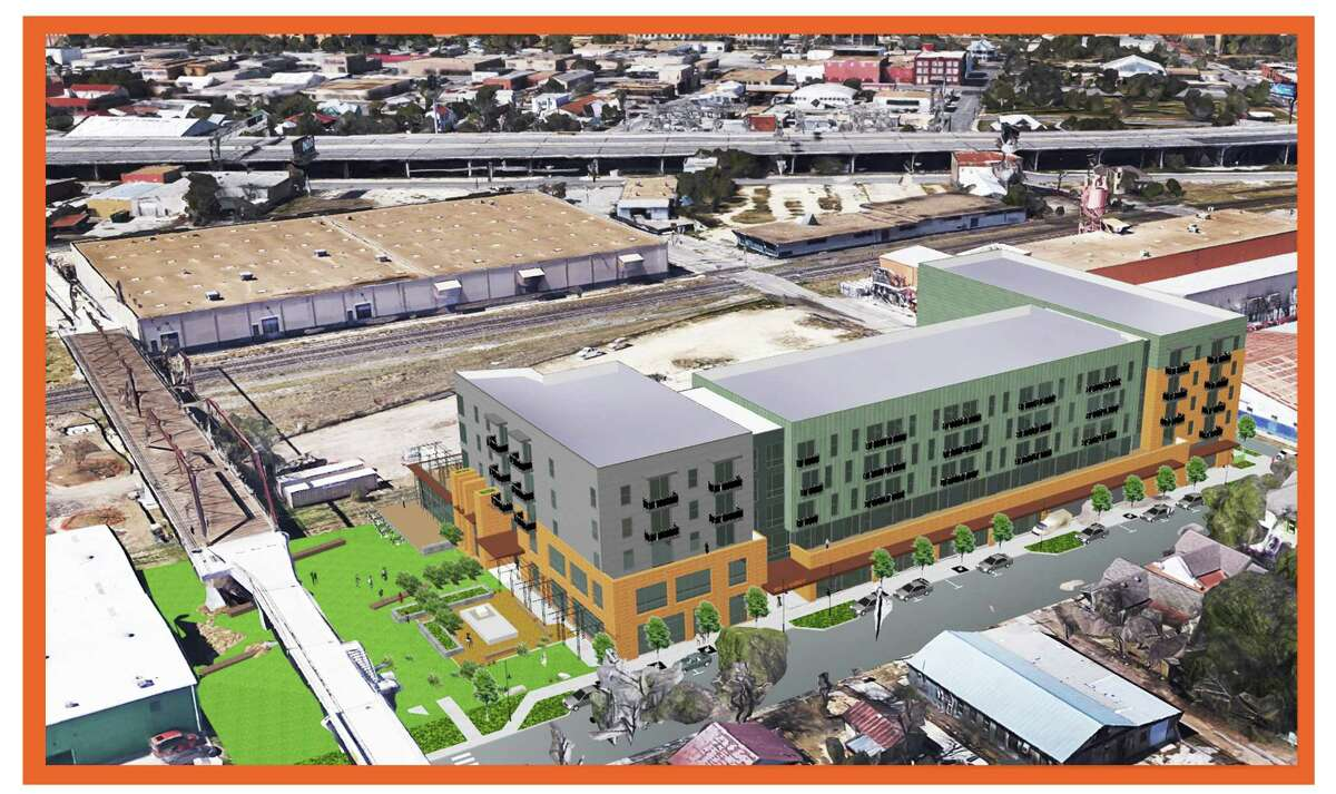 The complex, called The Bridge, would include some retail space and live-work units on the ground floor. In this view, the building is to the right of the Hays Street Bridge. The developers would use some of the land for a park.