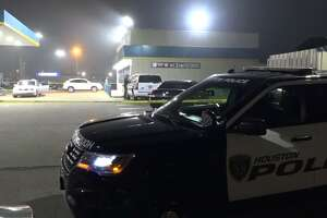 Police are investigating a shooting and suspected carjacking that killed one woman outside a southwest Houston gas station, late Feb. 6, 2018.