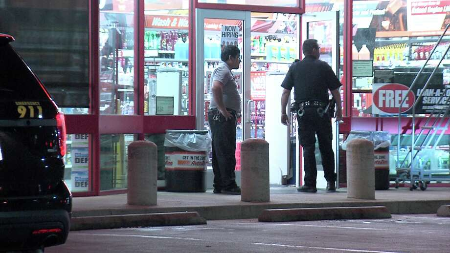 The gunman, described as a 6-foot-2-inch tall black man with dreadlocks dressed in all black with a bandanna on his face, entered the AutoZone in the 7500 block of Marbach Road around 10:15 p.m. Photo: Ken Branca