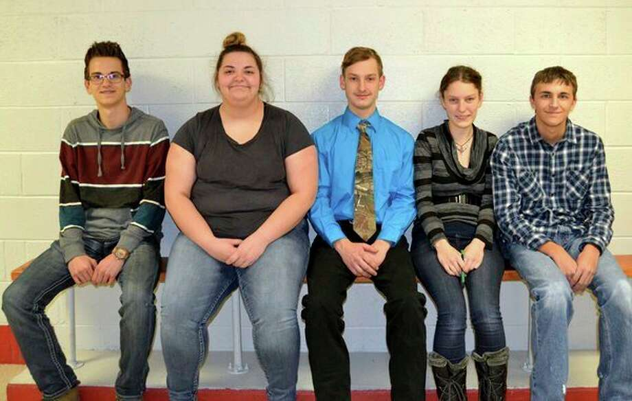 (Below) The underclassman representing Owendale-Gagetown's Snowball court are (from left): Clay Evans, freshman; Madyson Menzel and Payton Bock, sophomores; Jessica Partaka and Keyan Gruehn, juniors. Not picture is Alivia Roehrig, freshman. (Submitted Photo)