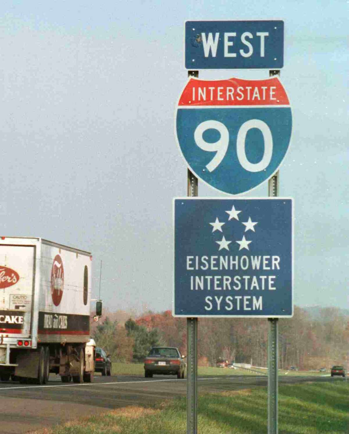 Times Union Staff Photo by Skip Dickstein: Eisenhower Interstate System sign along I-90, in Schodack, Tuesday Nov. 21,1995