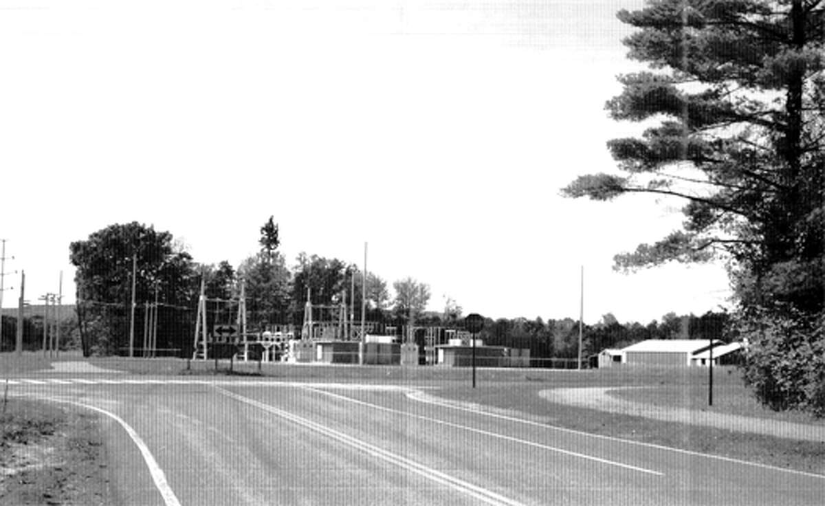 A black and white rendering of a National Grid substation planned for Van Dyke Road near the high school and Eagle Elementary. The rendering does not include proposed landscaping.
