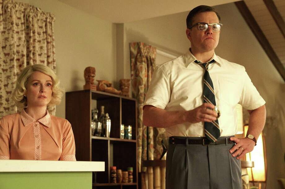 "Julianne Moore as Margaret and Matt Damon as Gardner in ""Suburbicon."" Photo: Photo Credit: Hilary Bronwyn Gay / Paramount"