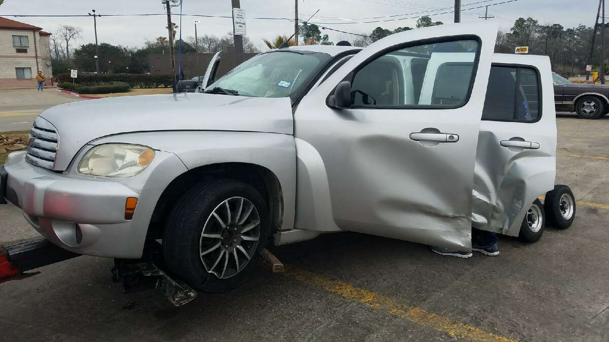 A silver Chevy HHR that authorities say was carrying two Beaumont men who fled deputies. Photo: Jefferson County Sheriff's Office