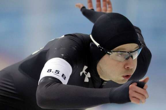 FILE - In this Jan. 5, 2018, file photo, Jonathan Garcia competes in the men's 500 meters during the U.S. Olympic long track speedskating trials in Milwaukee. Americans have adjusted their preparation routine to spend more time training at the Pettit National Ice Center in Milwaukee, one of the sport's important venues, ahead of the Pyeongchang Games. Like Pettit, the speedskating venue in South Korea is at sea level. (AP Photo/Morry Gash, File)