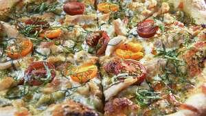Chicken pesto pizza at Jacob & Anthony Italian restaurant in Stuyvesant Plaza Wednesday May 31, 2017 in Albany, NY.  (John Carl D'Annibale / Times Union)