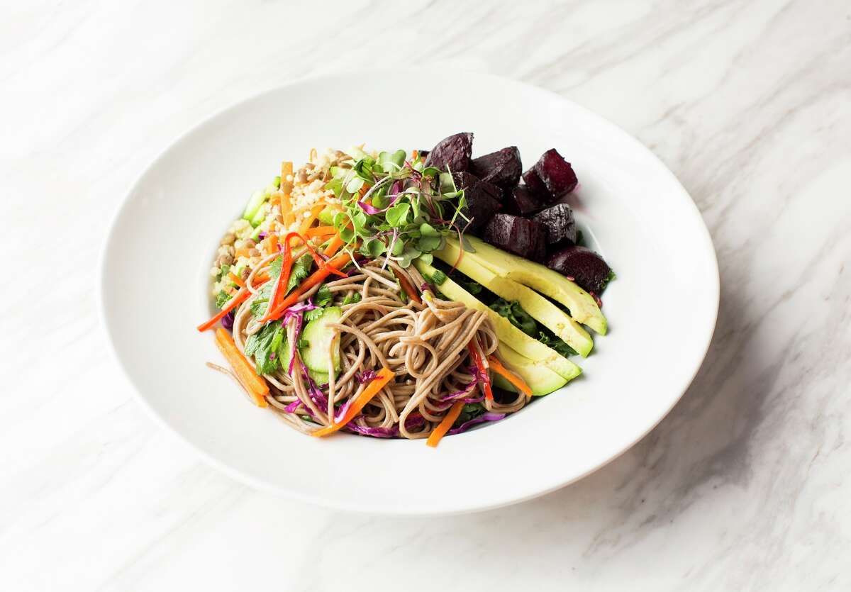 Hungry's restaurants (Rice Village, Memorial) have launched new daily vegan menu items. Shown: Power Bowl (soba noodles medley).