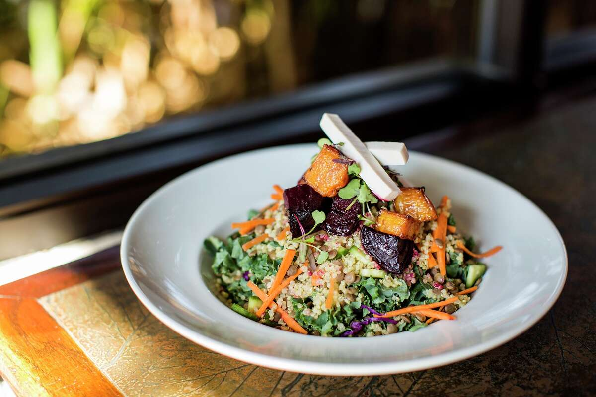 Hungry's restaurants (Rice Village, Memorial) have launched new daily vegan menu items. Shown: Fire roasted beet salad.