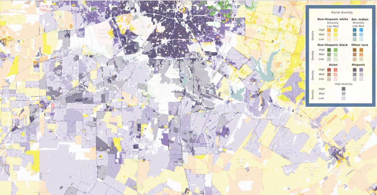 San Antonio's South Side, shown here, is mainly Hispanic shown in purple.
