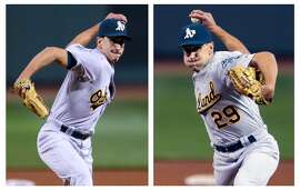 In this two image combination, Oakland Athletics relief pitcher Pat Venditte (29) delivers with his left and right hand to separate Boston Red Sox batters during the seventh inning at Fenway Park in Boston, Friday, June 5, 2015. (AP Photo/Charles Krupa)