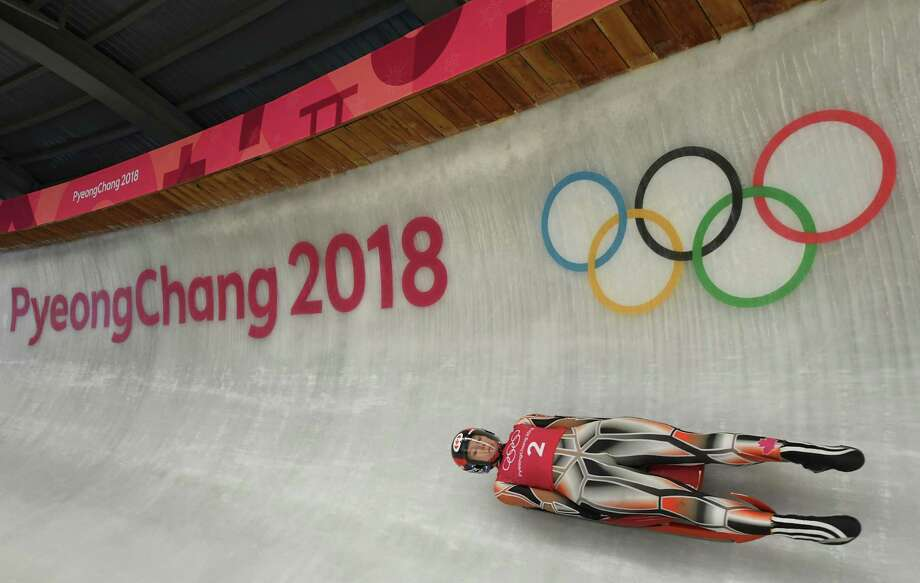 PYEONGCHANG-GUN, SOUTH KOREA - FEBRUARY 06:  Luger Alex Gough of Canada trains ahead of the PyeongChang 2018 Winter Olympic Games at the Olympic Sliding Centre on February 6, 2018 in Pyeongchang-gun, South Korea. Photo: Quinn Rooney, Getty Images / 2018 Getty Images