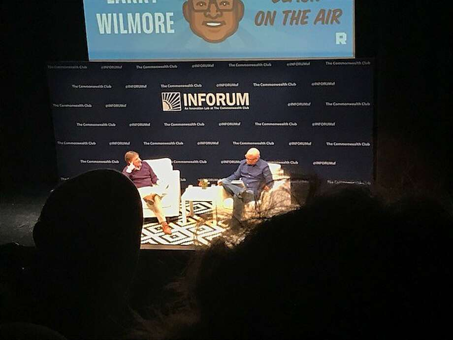 Michael Lewis and Larry Wilmore at taping of Wilmore's podcast, Black on the Air, a Commonwealth Club Inforum event Photo: Leah Garchik, San Francisco Chronicle