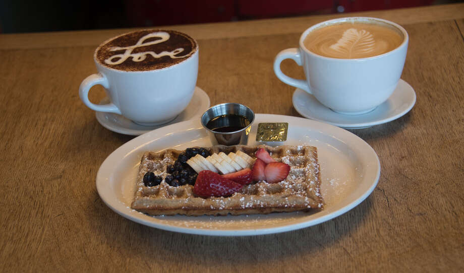 Macy's made from scratch waffles with organic maple syrup, special coffee and late at Macy's European Coffee House and Bakery, Flagstaff, Arizona. Photo: Macy's European Coffee House And Bakery. / Macy's European Coffee House and Bakery