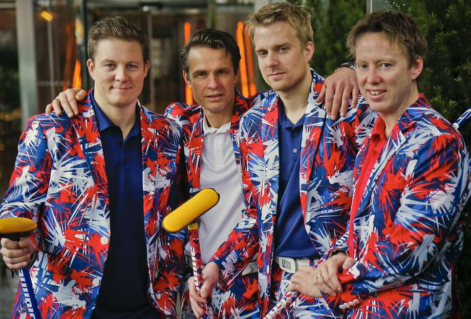 Members of the Norwegian Olympic curling team, Christoffer Svae, Thomas Ulsrud, Haavard Peterson and Torger Nergaard, pose in their unique uniforms. The team is expected to be a fan-favorite for a third straight Olympics, thanks to their famed brightly colored pants. Photo: Bebeto Matthews, Associated Press